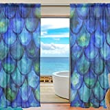 SEULIFE Window Sheer Curtain, Sea Ocean Mermaid Fish Scales Voile Curtain Drapes for Door Kitchen Living Room Bedroom 55x78 inches 2 Panels