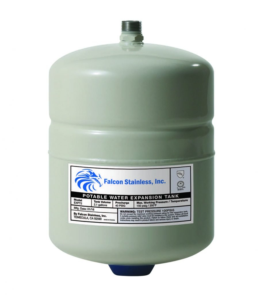 Falcon Stainless EXPT-2 Thermal Potable Water Expansion Tank 2.1 Gal with Butyl Bladder/Polypropylene Liner and Stainless Steel 3/4-Inch Male Thread Connection for up to 50-Gallon Water Heaters