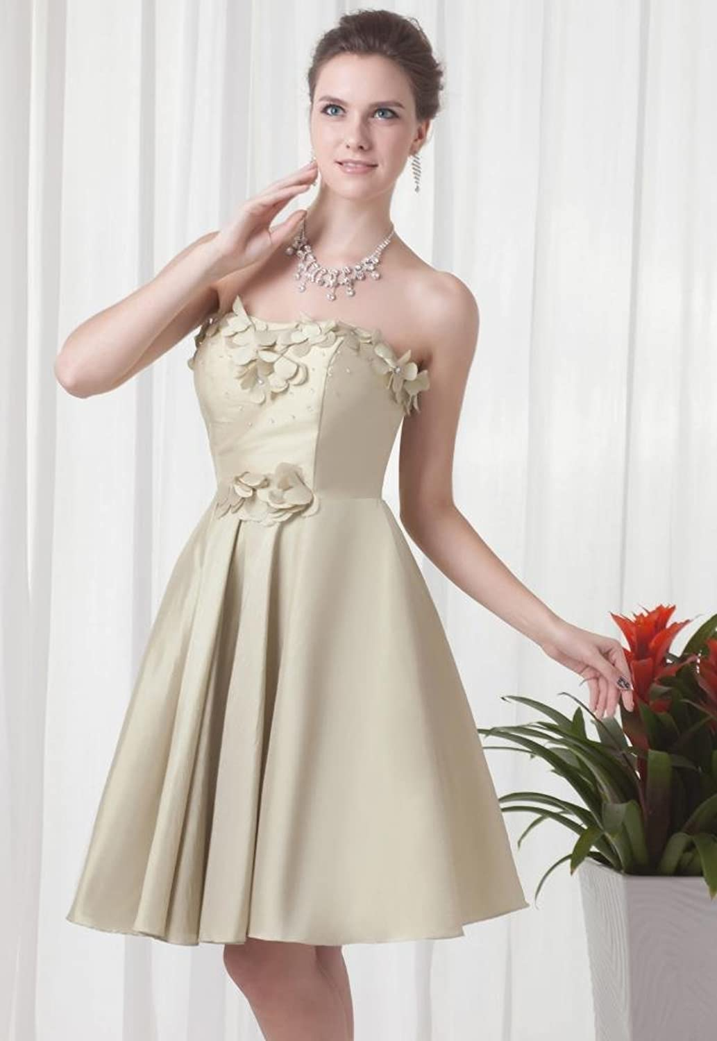 Modern strapless knee length satin champagne evening dress TY