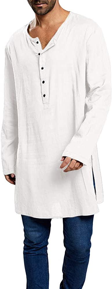 Taoliyuan Mens Kaftan Henley Shirts Tunic Longline Loose Fit Long Sleeve Light Kurta Pajama Sleepshirts