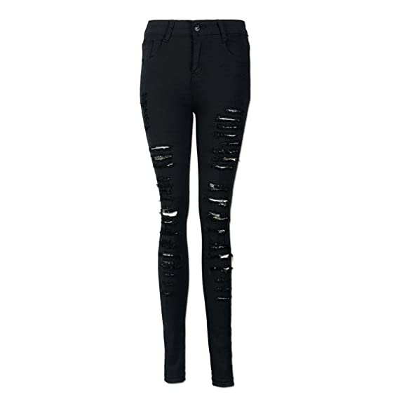 19ddc054b1c1 Damen Lange Hose Frau Denim Skinny Jeans YunYoud Frauen Zerrissenes Loch  Bleistift Hosen Hohe Taille Hose