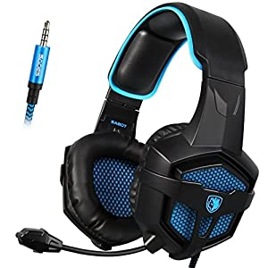 SADES SA807 Gaming headset Multi-Platform PlayStation 4 New XboxOne Stereo Headset Over-Ear Gaming Headphones with Microphone for PC PS4 iPad Mobile Tablet Mac (BlackBlue)