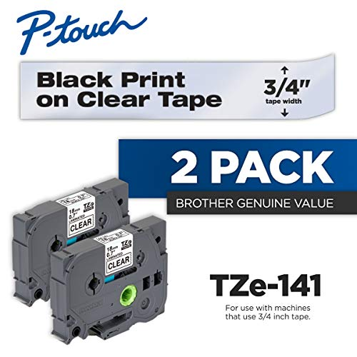 Brother Genuine P-Touch 2-Pack TZe-141 Laminated Tape, Black Print on Clear Standard Adhesive Laminated Tape for P-Touch Label Makers, Each Roll is 0.7
