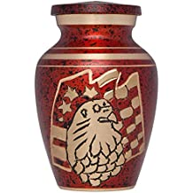 Mini Keepsake Urn • Miniature Funeral Cremation Urn fits Small Amount of Ashes • American Eagle Red Model • 3 inches Tall