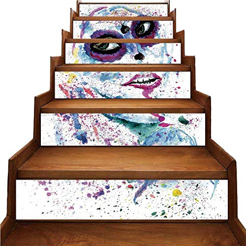 TecBillion Girls Nice Stairs Sticker,Grunge Halloween Lady with Sugar Skull Make Up Creepy Dead Face Gothic Woman Artsy for Home,39.3