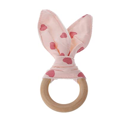 Baby Knit Rabbit Safety Wooden Natural Teething Ring Teether Bunny Sensory Toy