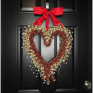 "Rustic Heart Shaped Red & Cream Berry Wreath for Valentines Day Front Door, Wedding Newlywed Mother's Day Gift, Front Porch, Handmade, 20"" x 18"" 69"
