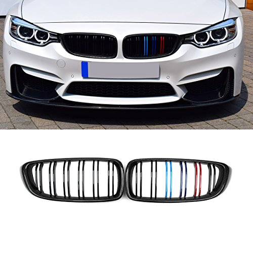 Grille Fiber Carbon - F32 Grille, Carbon Fiber Front Replacement Kidney Grillfor 4 Series F32 F33 F36 F80 F82 Gloss M Color