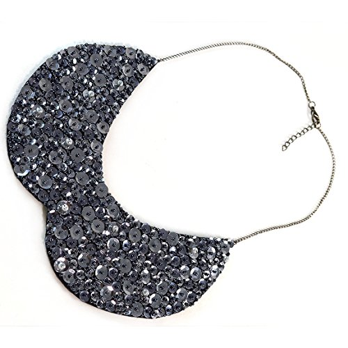 Black Gunmetal Detachable Sequin Collar Bib Necklace