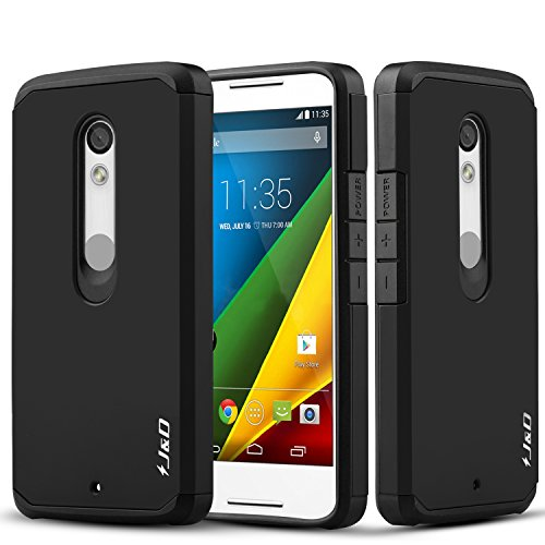 J&D Case Compatible for Moto Droid Maxx 2 Case, Heavy Duty [Dual Layer] Hybrid Shock Proof Protective Rugged Bumper Case for Moto Droid Maxx 2 Case - Black