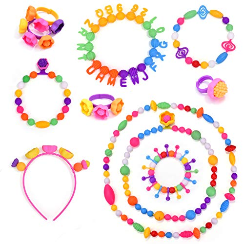 Arts and Crafts Toys Gifts for Kids Age 4yr-12yr Creative DIY Jewelry Kit for Toddlers Birthday Gift Toys for 4,5,6,7,8 Year Old Girls Edycur 250 Pcs Arty Snap Pop Beads Set with Storage Bucket
