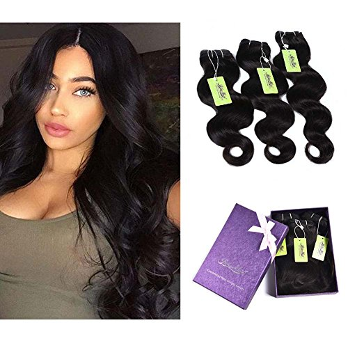 """Beauty : Indian Body Wave Hair Bundles, Re4U Virgin Human Hair Bundles Unprocessed Tangle Free Weave Extensions Double Weft (Natural Color 10""""+12""""+14"""" Total 300g)"""