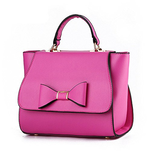 QCKJ-Lorenz-Borsa a tracolla da donna in ecopelle, con fiocco, colore: rosa