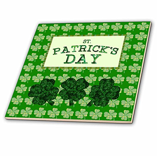 (3dRose Beverly Turner St Patrick Day Design - St Patrick Day, Three Four Leaf Clover, Plaid Four Leaf Clover Design - 12 Inch Ceramic Tile (ct_280569_4))