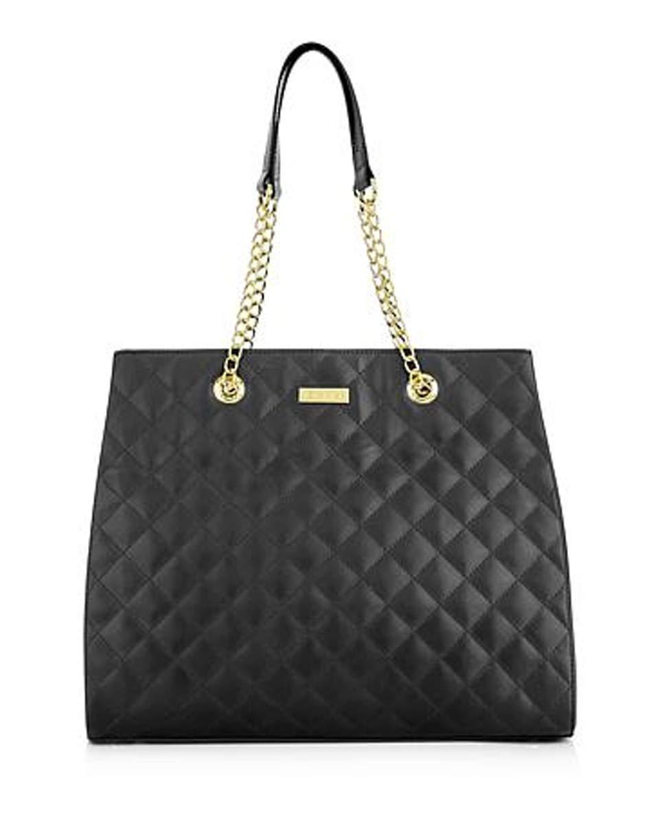 JOY & IMAN Diamond Quilted Genuine Leather Handbag Satchel with RFID  Black