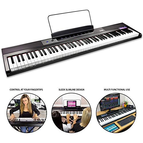 RockJam 88-Key Beginner Digital Piano with Full-Size Semi-Weighted Keys, Power Supply, Simply Piano App Content & Key Note Stickers