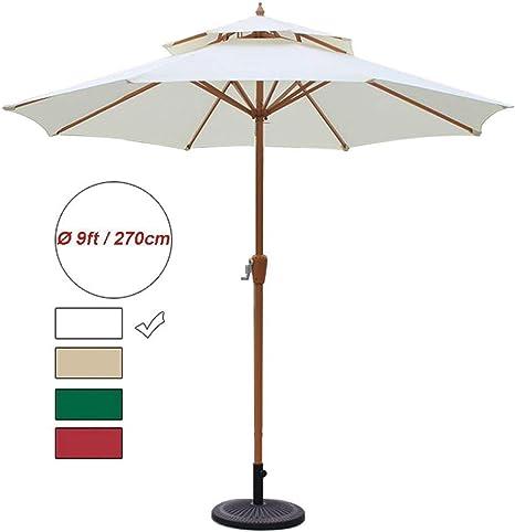 LXDDP Parasol jardín Paraguas, Sombrillas Oslash; Sombrilla jardín 9 pies / 270 cm con manivela, protección Solar UV70 + para terraza, balcón, terraza, Piscina, Playa: Amazon.es: Deportes y aire libre