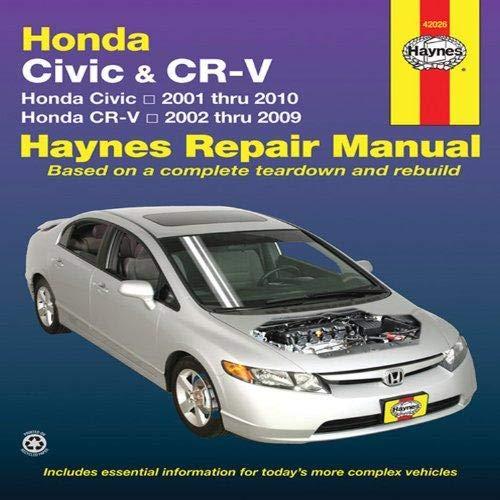 - Honda Civic 2001 Thru 2010 and CR-V 2002 Thru 2009