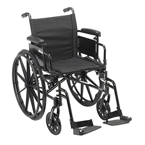 Drive Medical Cruiser X4 Lightweight Dual Axle Wheelchair with Adjustable Detachable Arms, Desk Arms, Elevating Leg Rests, 16