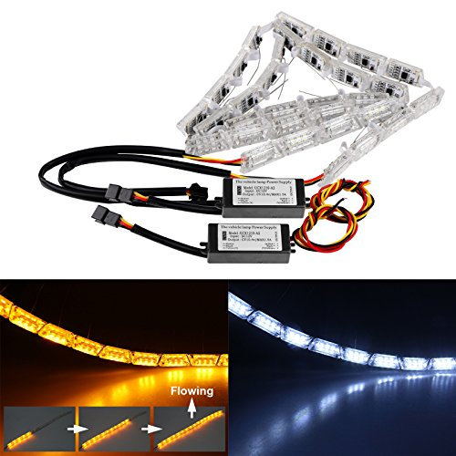 LED Daytime Running Light, DDSKY Car DRL Flowing Turn Singal Light LED Strip Lights Headlight Car Fog Lamp LED White/Amber DRL Strip Pack of 2
