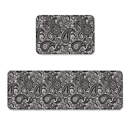 Beauty Decor Abstract 2 Piece Non-Slip Kitchen Mat Runner Rug Set Doormat Area Rugs Floral Paisley Pattern Ethnic Design Black White 19.7x31.5inch+19.7x47.2inch