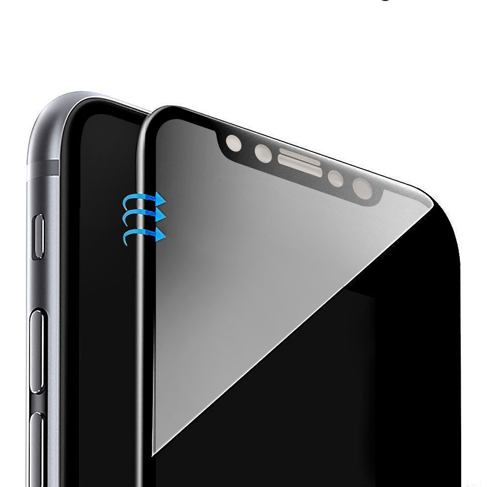 Vintar [3D Full Coverage] Privacy Screen Protector for iPhone X, 9H Anti-Spy Tempered Glass Screen Protector, (Black)