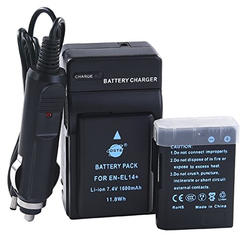 DSTE 2x EN-EL14 ENEL14 Battery + DC111 Travel and Car Charger Adapter for Nikon D5100 D5200 D5300 D5500 DF P7000 P7100 P7200 P7700 P7800 D3500 Digital Camera as EN-EL14A