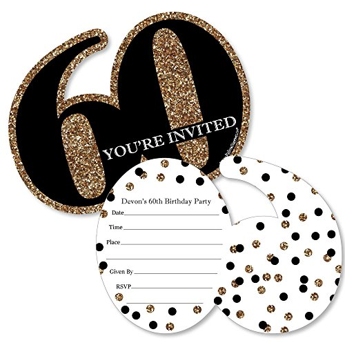 Custom Adult 60th Birthday - Gold - Personalized Birthday Party Invitations - Fill in Invitation Cards with Envelopes - Set of 12