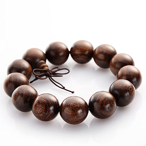 Dictea 18mm Buddha Beads Wrist Mala - Black African rosewood Asian Meditation Prayer Beads