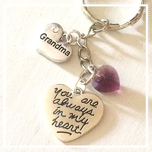 Grandma Silver Charm Personalized Keychain You Are Always in My Heart with Custom Swarovski Birthstone