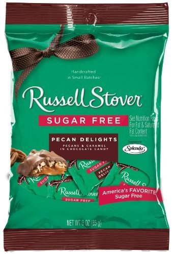 Russell Stover Sugar Free Peg Bag, Pecan Delight, 3-Ounce (Pack of 12) by Russell Stover (Sugar Stover Nutrition Free Russell)