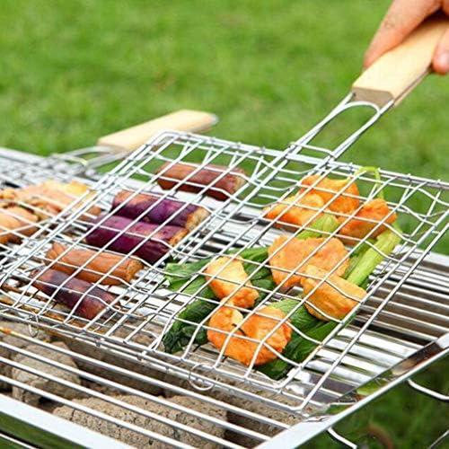 Kamena Lot de 3 filets de barbecue avec poignée en bois pour légumes et poissons