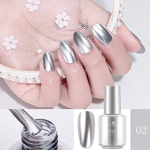 Nail Polish,Mirror Nail Polish Plating Silver Paste Metal Color Stainless Steel Mirror Silve,Popular,Nail Art ()