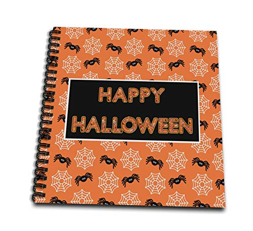 3dRose Beverly Turner Halloween Design - Happy Halloween Word, Spiders on Webs - Drawing Book 8 x 8 inch -