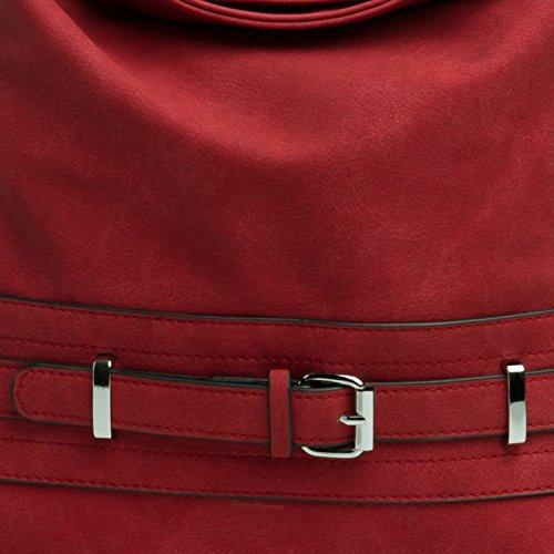 Femme Pour De Ceinture Avec Sac Épaule Boucle À Rouge Décoration Porté Ts1019 Caspar Main wxqgHY0wa