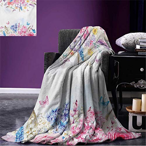 Summer Blanket Romantic Garden Roses Flowers Daisies Leaves Print Beach Pale Pink Purple Pale Blue and Coral W80 x L60 inch ()