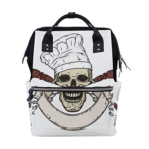 Cartoon Skull Toque Knife Large Capacity Diaper Bags Mummy Backpack Multi Functions Nappy Nursing Bag Tote Handbag for Children Baby Care Travel Daily Women]()