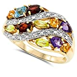 14k Yellow Gold Natural Genuine Multi-Color Gemstone and Diamond Ring