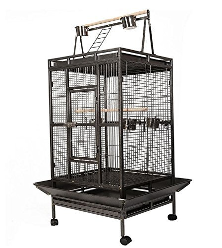 Black Bird Cage Large Play Top Parrot Finch Cage Macaw Co...