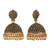 Efulgenz Indian Vintage Bollywood Gypsy Oxidized Gold Plated Traditional Jhumka Jhumki Earrings for Women and Girls