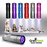 UV Black-Light Flashlight Pet Urine Detector. Ultra-Bright Led Cordless Stain Finder for Detecting Dry Dog Cat and Pet Urine/Pee. GranPaws Stain Seeker SILVER Color. A Unique Gift Giving Idea.