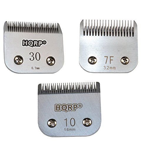 HQRP 3pcs Clipper Blades Set, Sizes 7F /10/30 for Poodle Hair Cutting Sporting Miami Terrier Style, Dog Grooming Clipping Trimming Coaster by HQRP