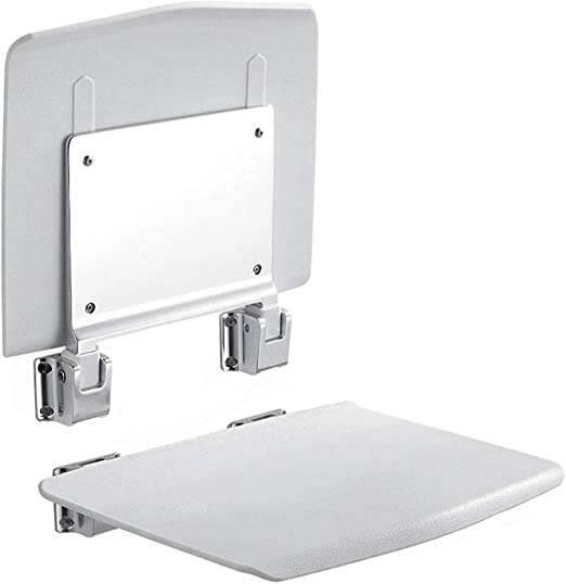 Can Withstand 150KG Elderly Bathing Auxiliary Seat Non-Slip Folding Chairs Wall Mounting BEAUTY--shower stool Color : White