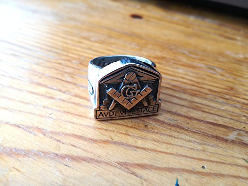 (Avdi Vide Tace Masonic Ring - United Grand Lodge of England | Temple of Solomon Ring | Boaz Jachin ring | Masonic Pillars Ring | Sterling Silver 925, Yellow, White, Rose Gold | Handmade| All sizes)