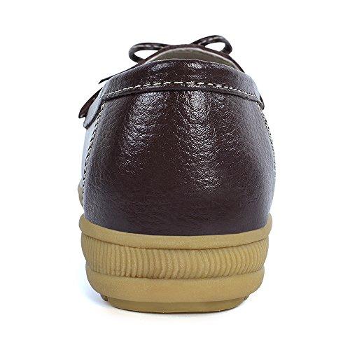 feetmat Frauen Loafers Lighweight Bow Flachboot Slip-Ons Driving Shoes Braun