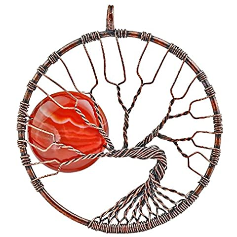 SUNYIK Carnelian Tree of Life Pendant,Stone Wire Wrapped Full Moon Necklace,Healing Chakra (Copper Wire 8g)