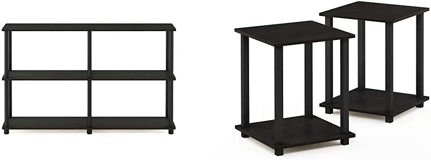 Furinno Turn-N-Tube 3-Tier Double Size Storage Display Rack Espresso//Black