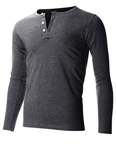 FLATSEVEN Mens Casual Henley Shirt With Button