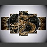 PEACOCK JEWELS [LARGE] Premium Quality Canvas Printed Wall Art Poster 5 Pieces / 5 Pannel Wall Decor The Dragon Painting, Home Decor Pictures - Stretched