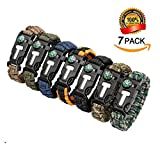 Epartswide Multifunctional Outdoor Survival Paracord Bracelet with Flint Fire Starter ,Compass,Emergency Whistle&Knife/Scraper Pack of 7